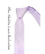 Lilac Lavender chambray necktie - Wedding Mens Tie Skinny Necktie - $60.00