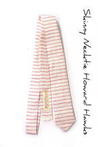 Wedding Laid-Back necktie- pink white striped tie - $60.00