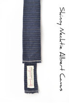 Blue striped linen Mens Tie Skinny Necktie Square-End Tie-Laid-Back necktie - $60.00