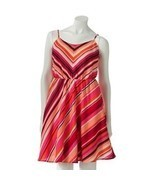 LC LAUREN CONRAD Women 6 Pink Red Chevron Strip... - $25.99