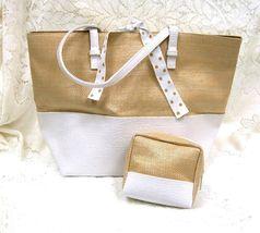 Estee Lauder Straw White Tote Tie Handbag w Cos... - $30.00