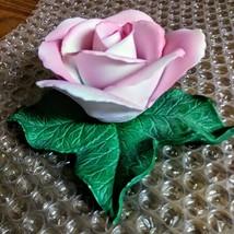 Vintage Tiffany Porcelain Pink Rose on Green Leaves Figurine  image 4