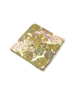 Wedding Mens Pocket Square Yellow Gold and pink Flowers Liberty cotton - $50.00