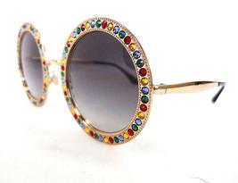 DOLCE & GABBANA Women's Sunglasses DG2170B 02/8G Round Gold/Jewels 140 I... - $325.00