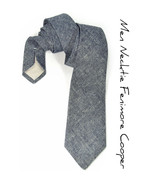 Mens Necktie Dark Blue Denim Japan Chambray tie - $70.00