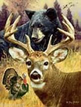 "ANIMAL HUNTER HUNTING DREAM QUEEN MEDIUM WEIGHT FAUX FUR MINK BLANKET 79""x96"" - $56.95"