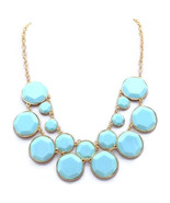 Mint Green Luxe Layer Statement Necklace, Bubble Bib Necklace - $14.00
