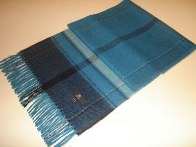 Primary image for Blue chekked scarf,shawl made of Babyalpaca wool