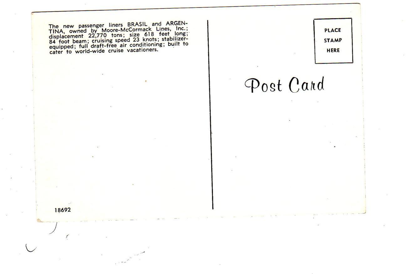 Moore McCormack Postcard SS BRASIL & Argentina