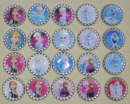 "Set of 20- ""FROZEN"" inspired Elsa, Anna, Olaf Flat Bottlecap HAIRBOWS! - $8.00"