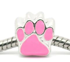 One Charm Bead Enamel Pink Dog Paw print. Fits European Charm Bracelet C126 - $3.95
