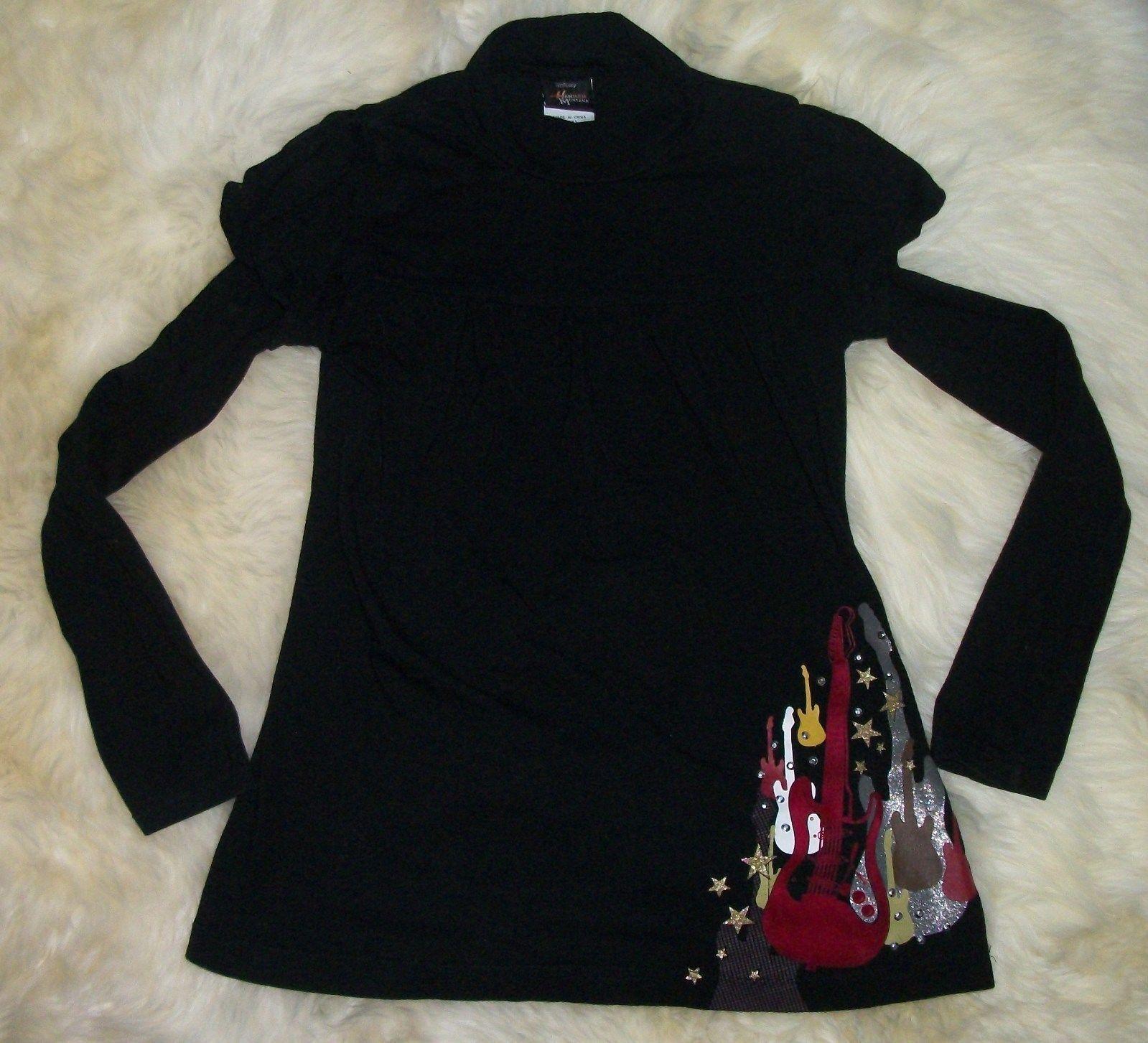 hanna montana shirt girls large 6x long sleeve guitars black rhinestones nice - $20.83