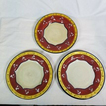 Set of 3 Pier 1 Vallarta Hand Painted Earthenware Dinner Plates About 11 Inches - $28.49