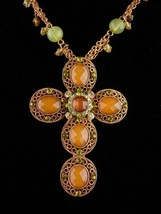 Gorgeous gothic Cross necklace - Peridot & amber rhinestones - Rosary be... - $125.00