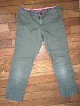 arizona jean company olive green twill skinny pants bottoms 7 girls - $6.02