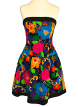 80s Vtg A.J. Bari Bold Color Textured Cotton Floral Print Strapless Cors... - $75.00