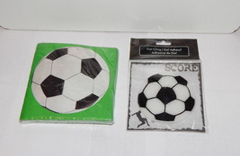 "Soccer Party Napkins & Soccer Ball Gel Cling 3 1/2"" Celebrate It Michael... - $5.91"
