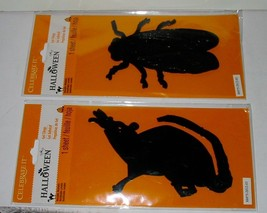 "HALLOWEEN Gel Clings By Celebrate It Washable Reusable 6"" x 4"" Rat & Bug... - $6.92"