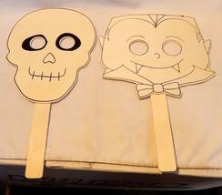 "Halloween Wooden Paintable Masks By Creatology 2ea skull & Vampire 13"" x... - $6.92"