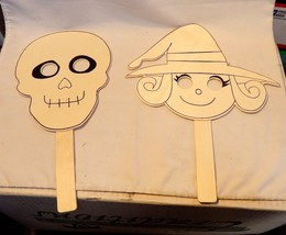 """Halloween Wooden Paintable Masks By Creatology 2ea Skull & Witch 13"""" x 7... - $6.92"""
