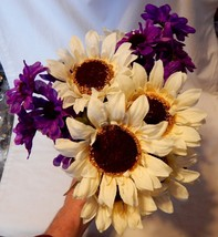 "Ashland Fall Bushes Decor Picks Stems Fillers Purple/Wt Flowers 3ea 16"" ... - $5.89"