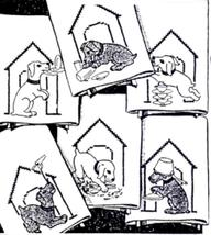 Puppy in Dog House with Dishes Tea Towels embroidery pattern AB6064  - $5.00
