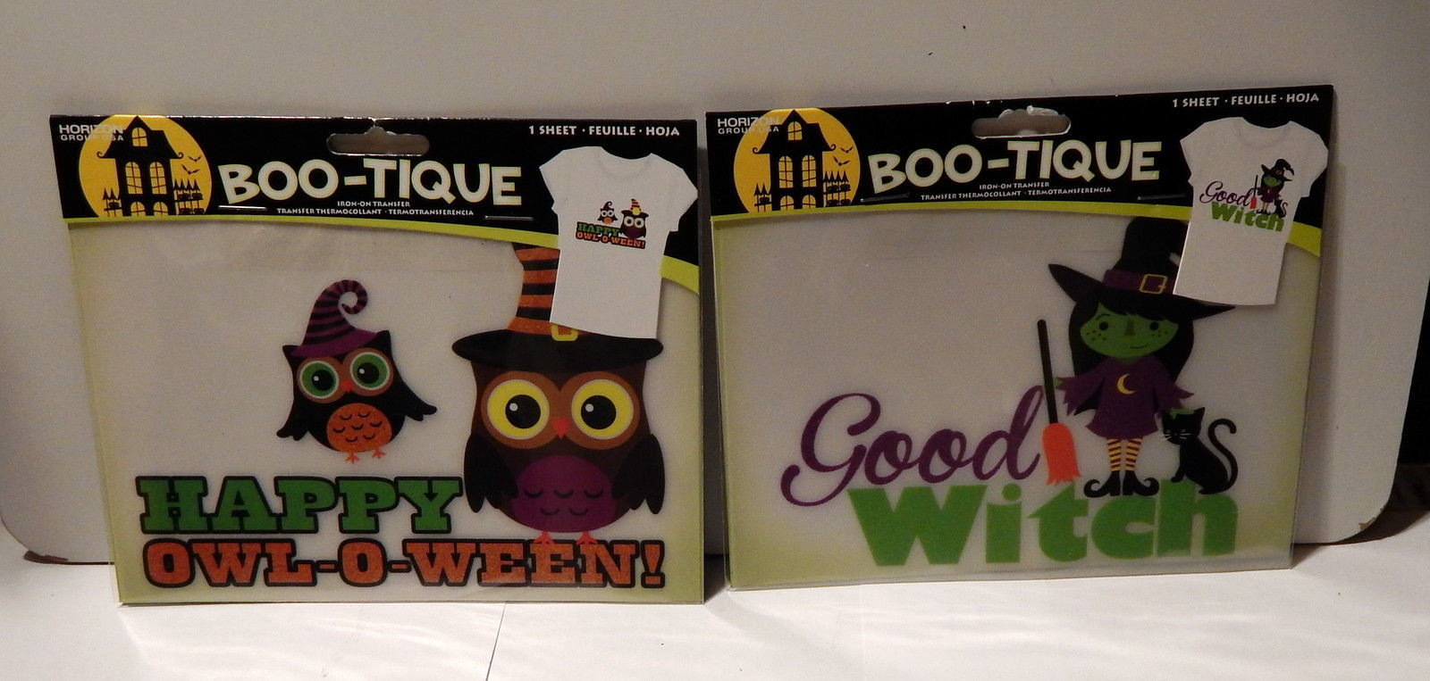 Halloween Boo tique Iron on Transfers Horizon Happy Owl O Ween & Good Witch 36H - $5.91