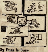 1930's Sly Pussy Cat DOW days of week towels embroidery pattern N8154  - $5.00