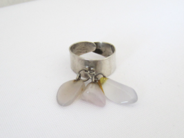 Vintage Mexican Sterling Silver White Cabochon Adjustable Ring Size 6.5 - $35.00