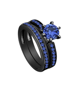 925 Sterling Silver Black Rhodium Plated Blue Sapphire Bridal Set Ring in SZ 5 6 - $167.00