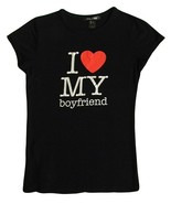 MNG Jeans Size XS Womens Black I Love My Boyfriend T-Shirt - $9.99