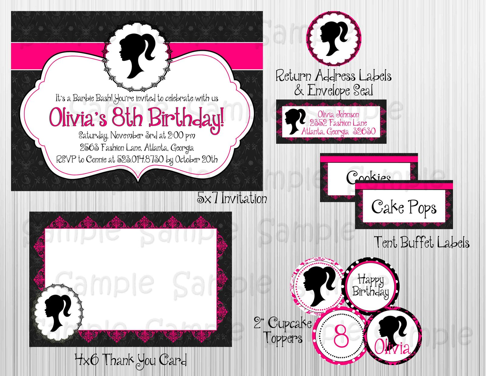 Used, Vintage Barbie Complete Party Package: Printable, Birthday,Bridal/Baby Shower for sale  USA