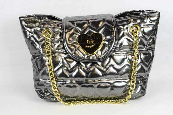Betseyville Women's Quilted Silver Heart Tote Bag