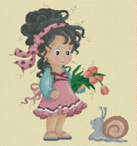 Loli and Snail Whimsies cross stitch chart Lena Lawson Needle Arts - $11.70