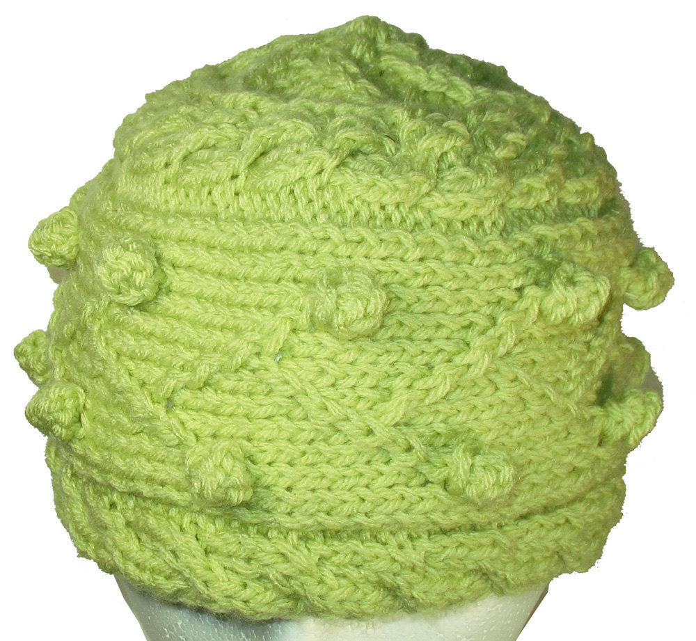 Spring Green Winter Hand Knit Hat