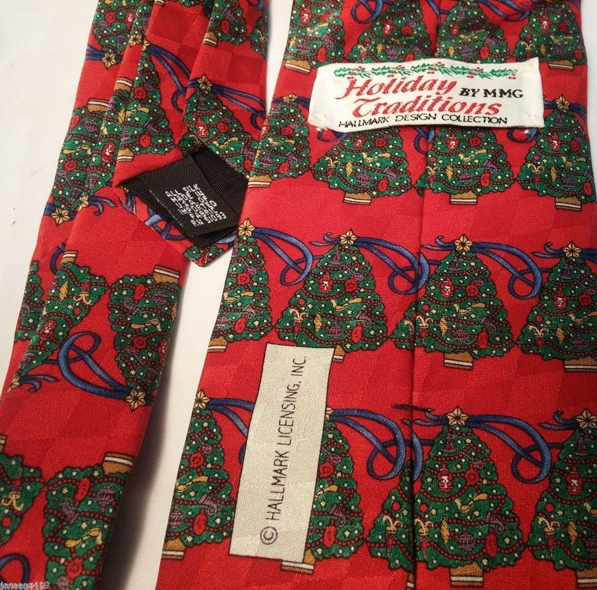 Holiday Traditions Hallmark Design Collection Christmas Trees Tie Red