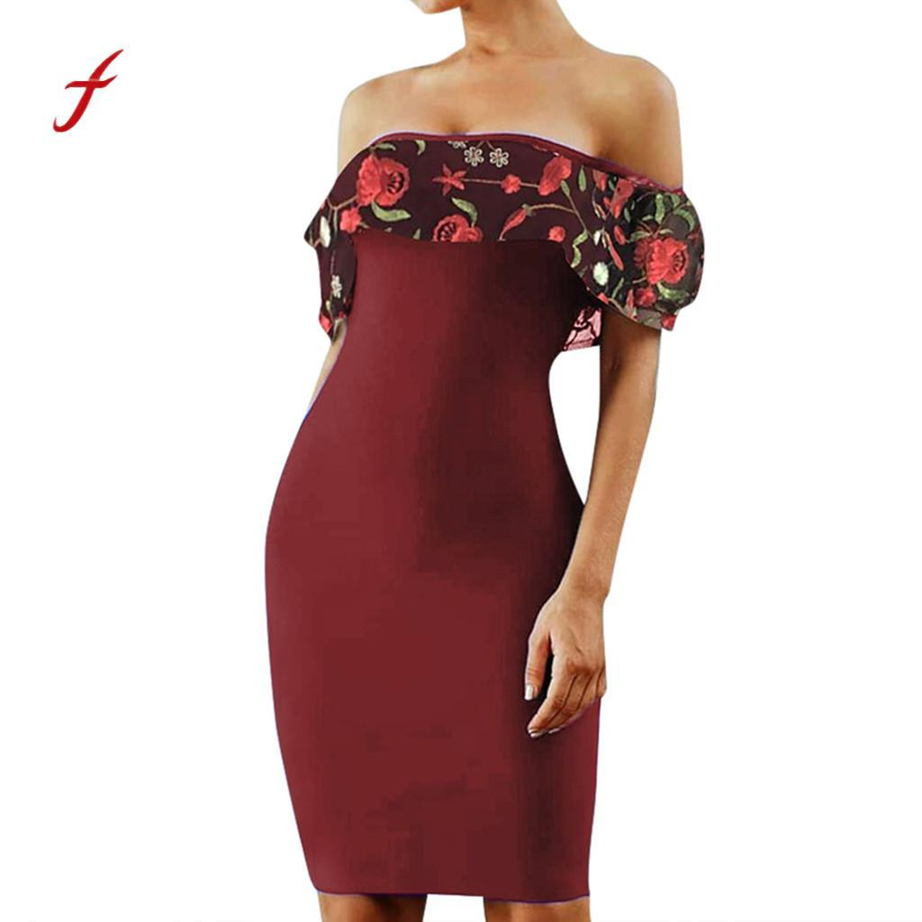 Womens dresses Elegant Embroidered Slesh Neck Slim Fit Sexy Party Dress Elegant