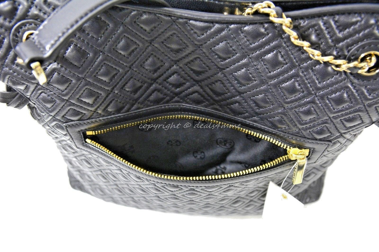 4ce07f4613e0 Tory Burch Marion Quilted Leather Slouchy Tote Shoulder Bag in Black.