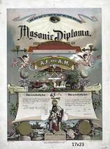 Freimaurer Diplom Maister Maurer Zertifizierung circa 1890 16x23 Plakat Repro - $17.33