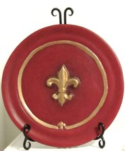 "10"" Red Ceramic Fleur De Lis Plate/Dish with Metal Scroll Plate Stand"