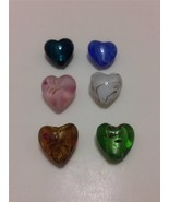 Lampwork Foil Glass Heart Beads 20x20mm 6pcs mi... - $3.91