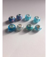 Big Hole Beads Round Glass Silver Lampwork Euro... - $7.83