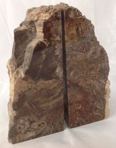 Petrified Wood Bookends Polished Brown Stone w Rough Natural Edges Agate... - $149.95