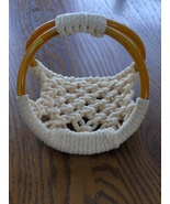 Vintage Macrame Napkin Holder Cream Color with Celluloid Rings? - $21.97