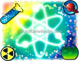 "3"" Round ~ Molecule Science / Chemistry Birthday ~ Edible Image Cake/Cup... - $7.00"