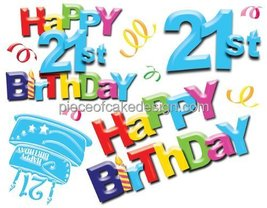 1/4 Sheet ~ Happy 21st Birthday Background Birthday ~ Edible Image Cake/... - $7.95