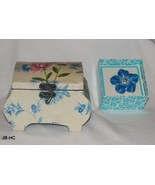 Flowered Wooden Jewelry Box and Blue Enamel Flower Pin - $15.99