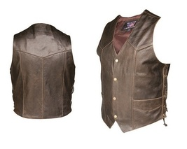 Allstate Leather Mens Retro Brown Side Laced Vest AL2228 - $86.00+