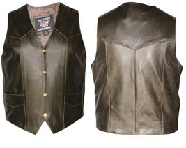 Allstate Leather Mens  Plain Retro Brown Vest AL2227 - $94.99+
