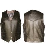Allstate Leather Mens  Plain Retro Brown Vest AL2227 - $94.99+